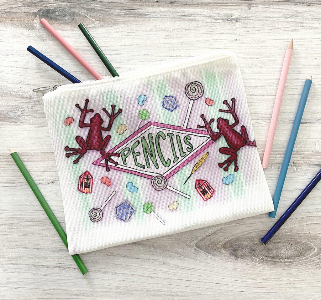 DIY Harry Potter Pencil Bag with Colored pencils