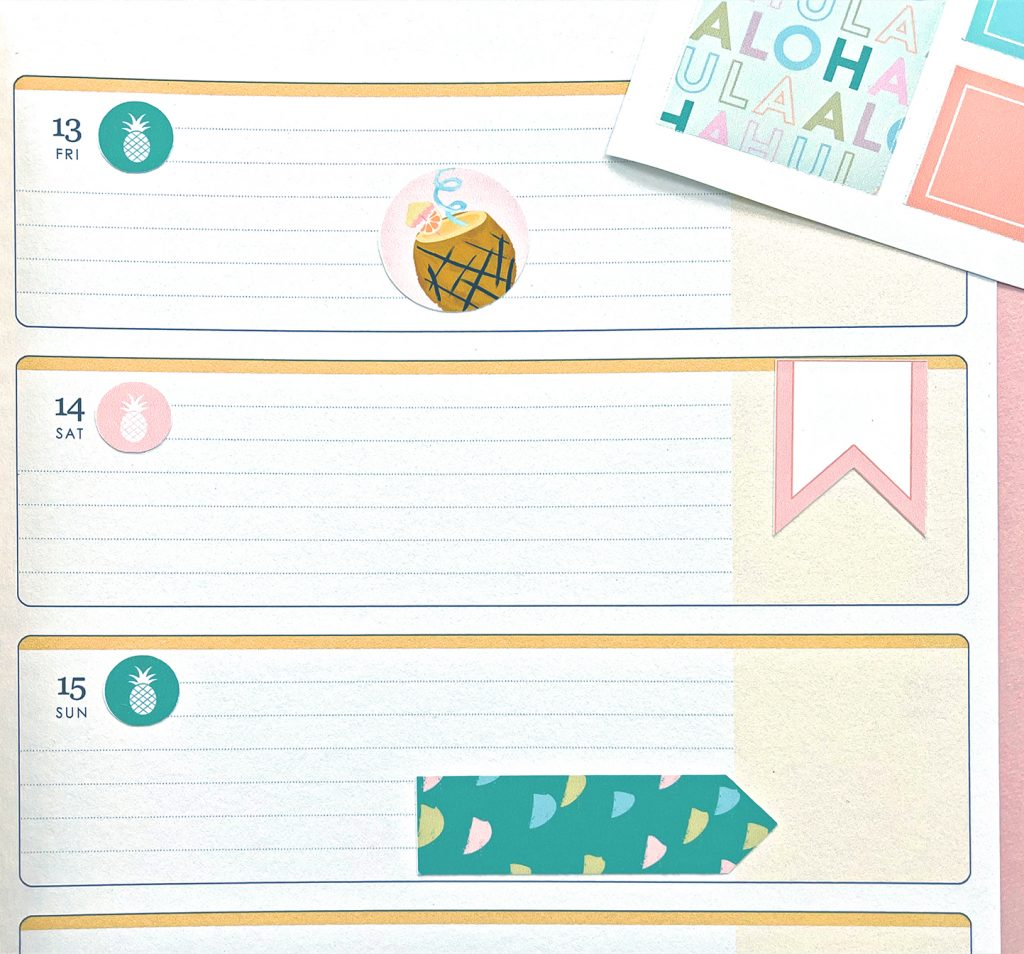 Summer Printable Planner Stickers on Pink Yellow and Green Planner