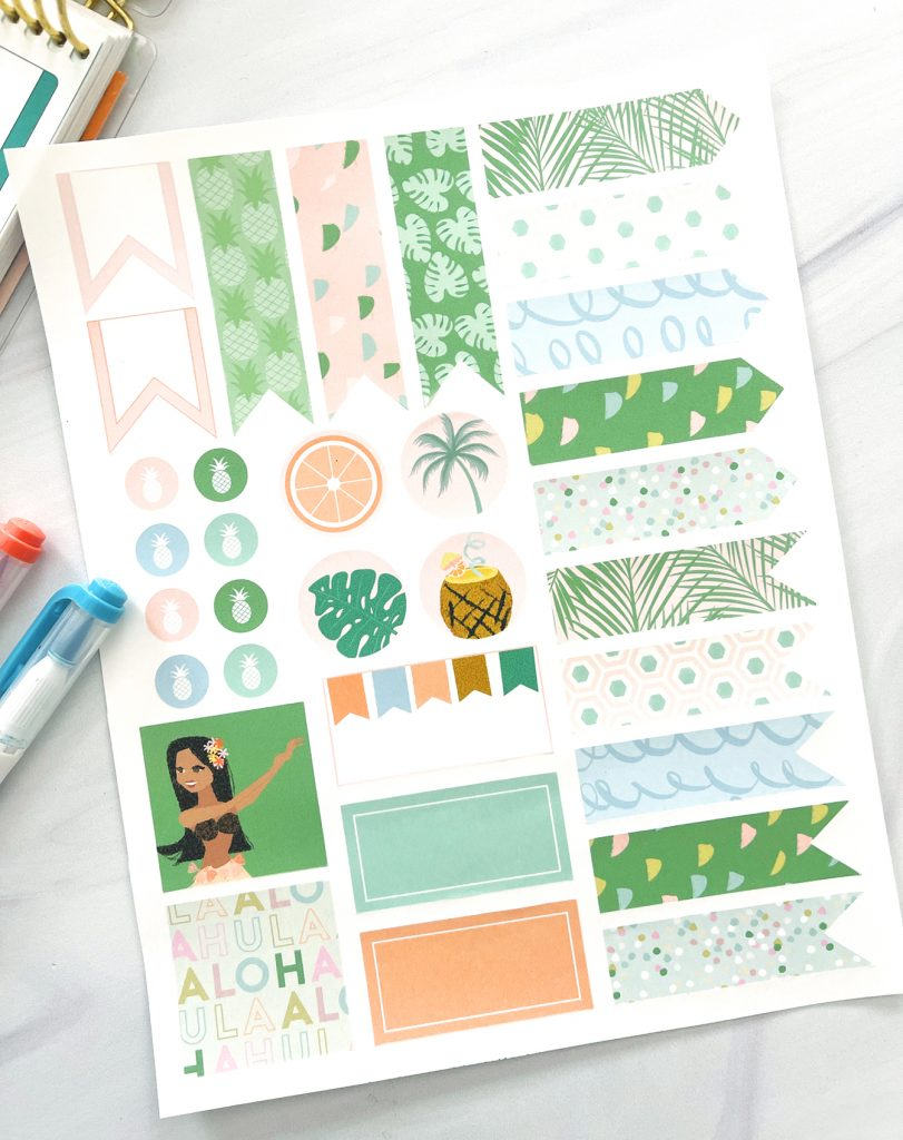 Free Printable Planner Stickers for Summer with Pens and closeup view