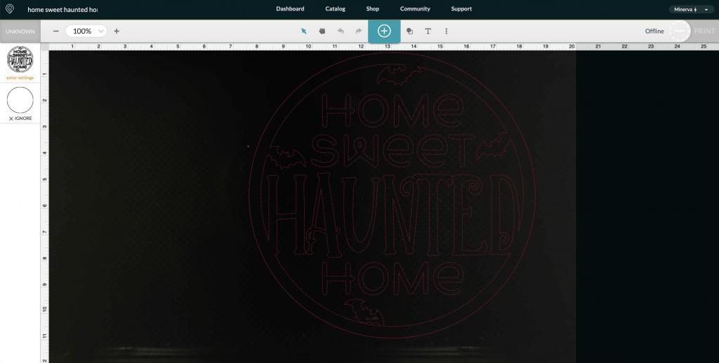 Screenshot of Halloween Sign SVG in Glowforge App