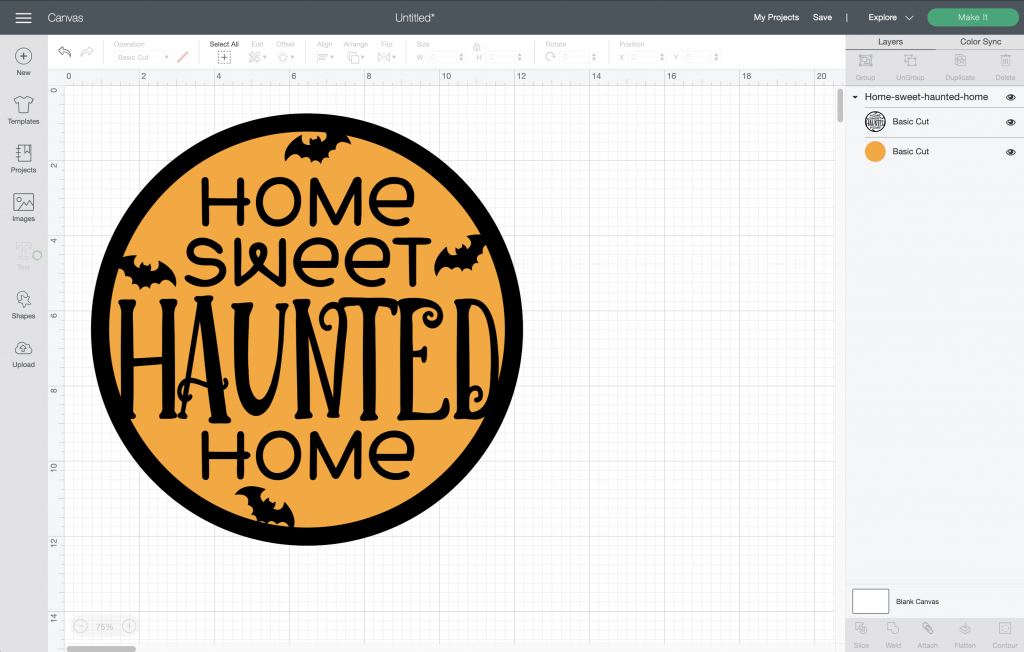 Home Sweet Haunted Home Halloween Sign SVG in Cricut Design Space