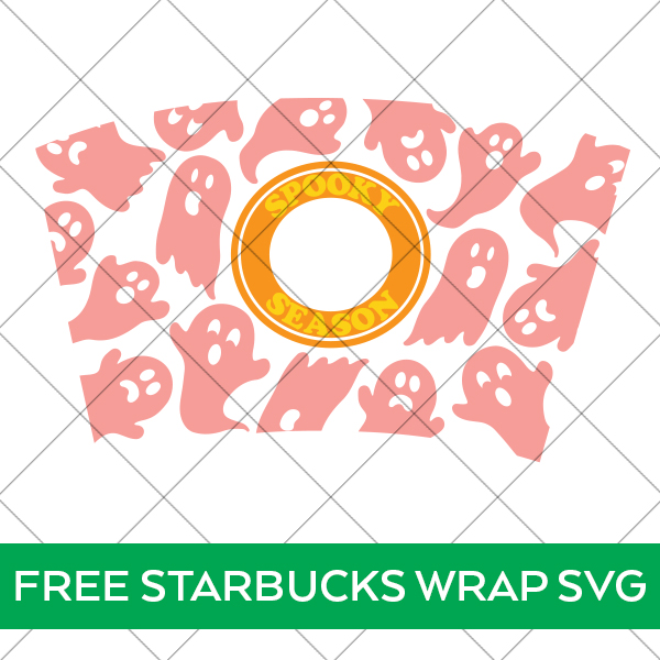 Free Halloween Starbucks Cold Cup Wrap with Ghosts SVG File