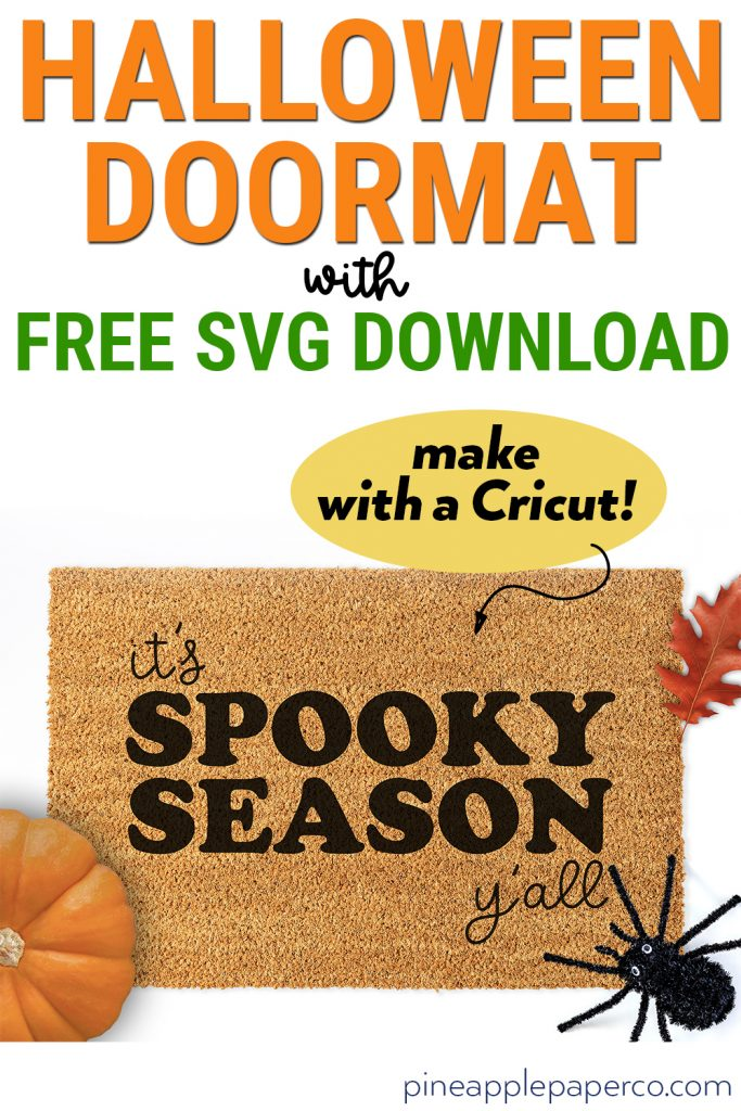Spooky Season Halloween Doormat made with Free SVG on Cricut machine
