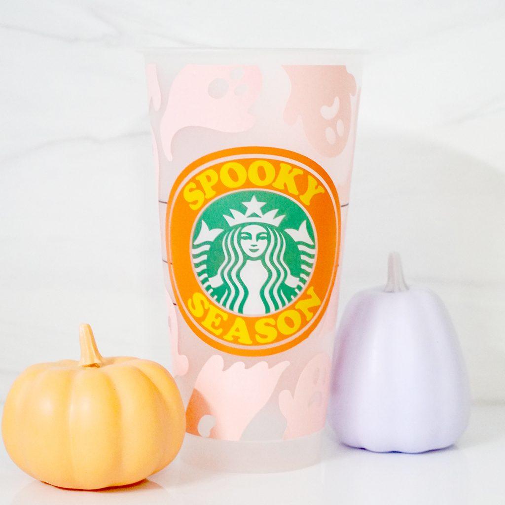 DIY Halloween Starbucks Cup with Free SVG and Cricut Vinyl