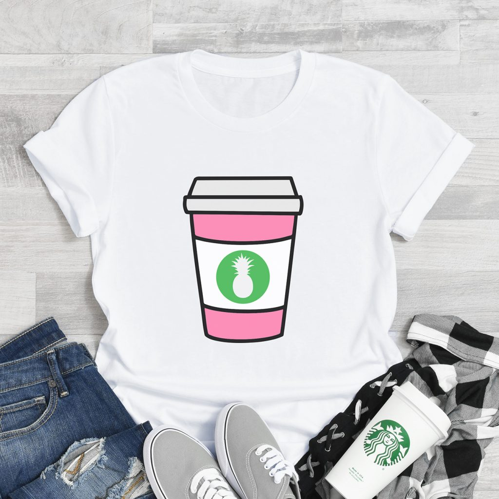 Coffee Shirt made with Cricut and Free Coffee Cup SVG File Bundle