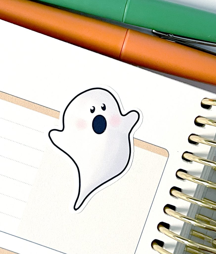 Printable Ghost Stickers on Planner