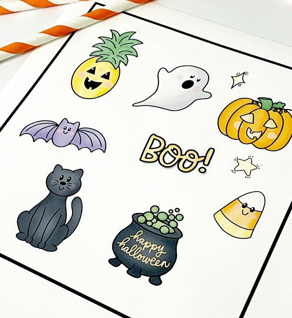 Printable Cute Halloween Stickers on Cricut Print then Cut Sheet