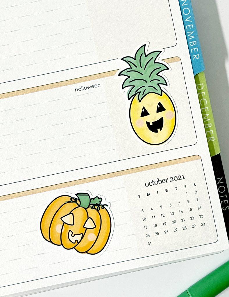 Printable Jack o Lantern Pumpkin Stickers on Planner