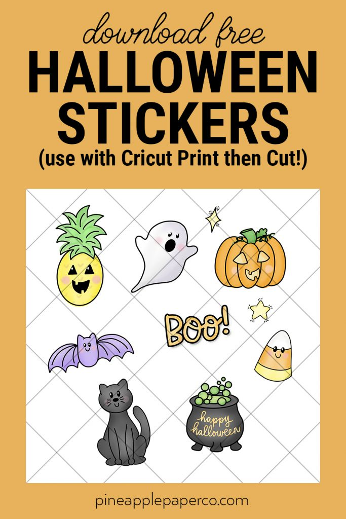 Free Cute Halloween Stickers for Cricut Print then Cut