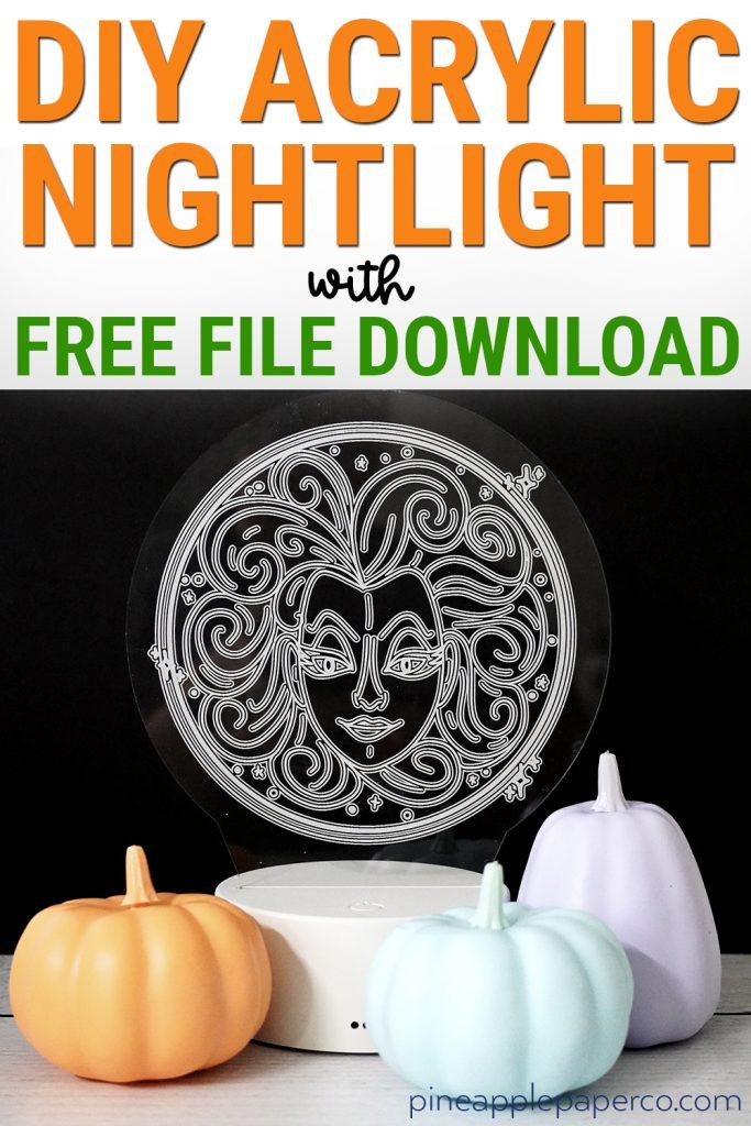 diy acrylic nightlight with madame leota and pumpkins made with glowforge