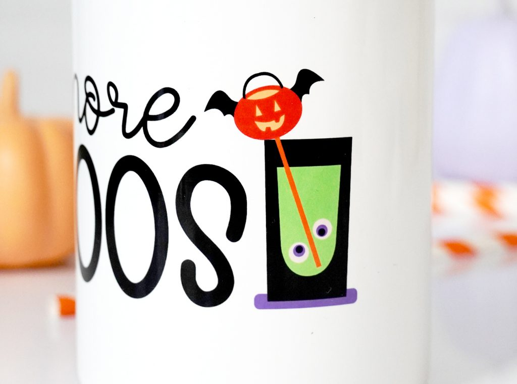 More Boos Sublimation Tumbler made with Cricut Mug Press and Free PNG Halloween File (Closeup)