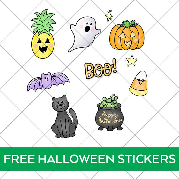 Cute Halloween Sticker Designs behind grid