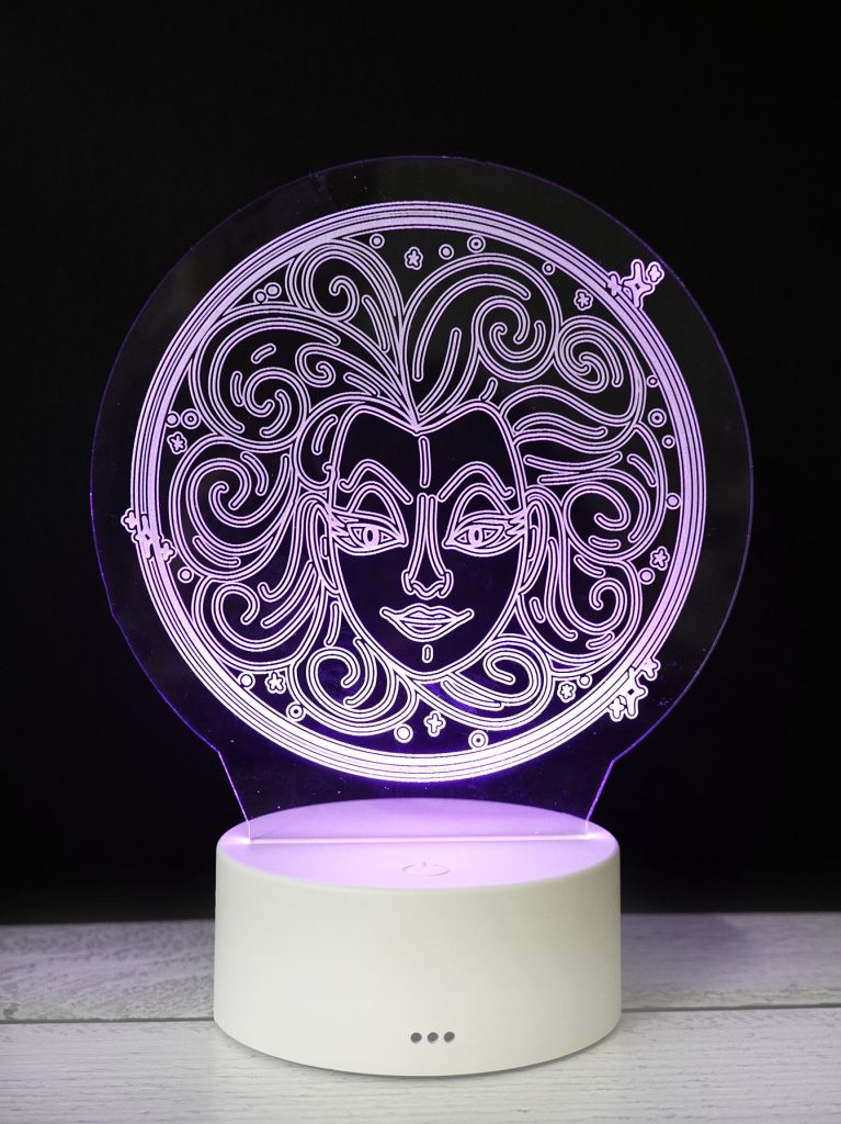 purple madame leota acrylic nightlight made with glowforge