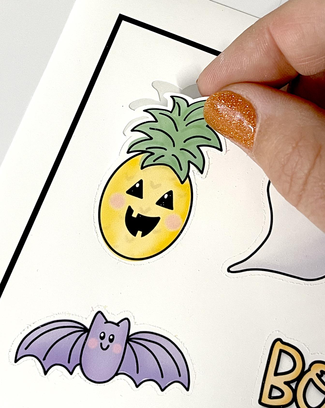 Fingers Peel Pineapple Halloween Jack o Lantern Sticker from Cricut Print then Cut Page