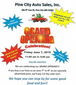 Pine City Auto Sales Grand Opening Event