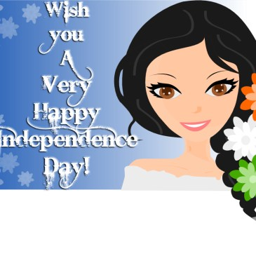 Girl with flowers in hair – An illustration & Independence Day India Wish Banner!