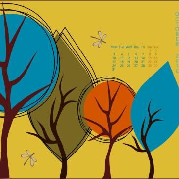 A whimsical fall illustration + Free Calendar Wallpaper for October 2016!