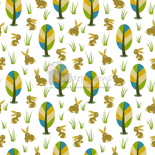 Stock vector seamless pattern with cute bunnies, grass blades and meadow trees.
