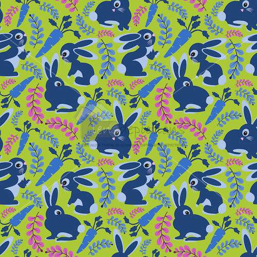 Stock vector seamless pattern with cute blue bunnies and carrots.