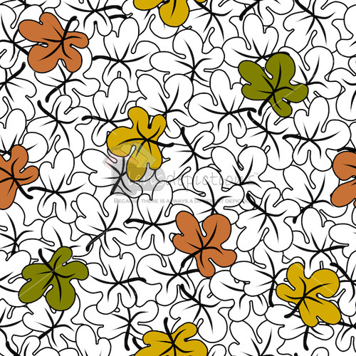 Seamless pattern vector of black and white fall leaves with pop of fall color leaves.