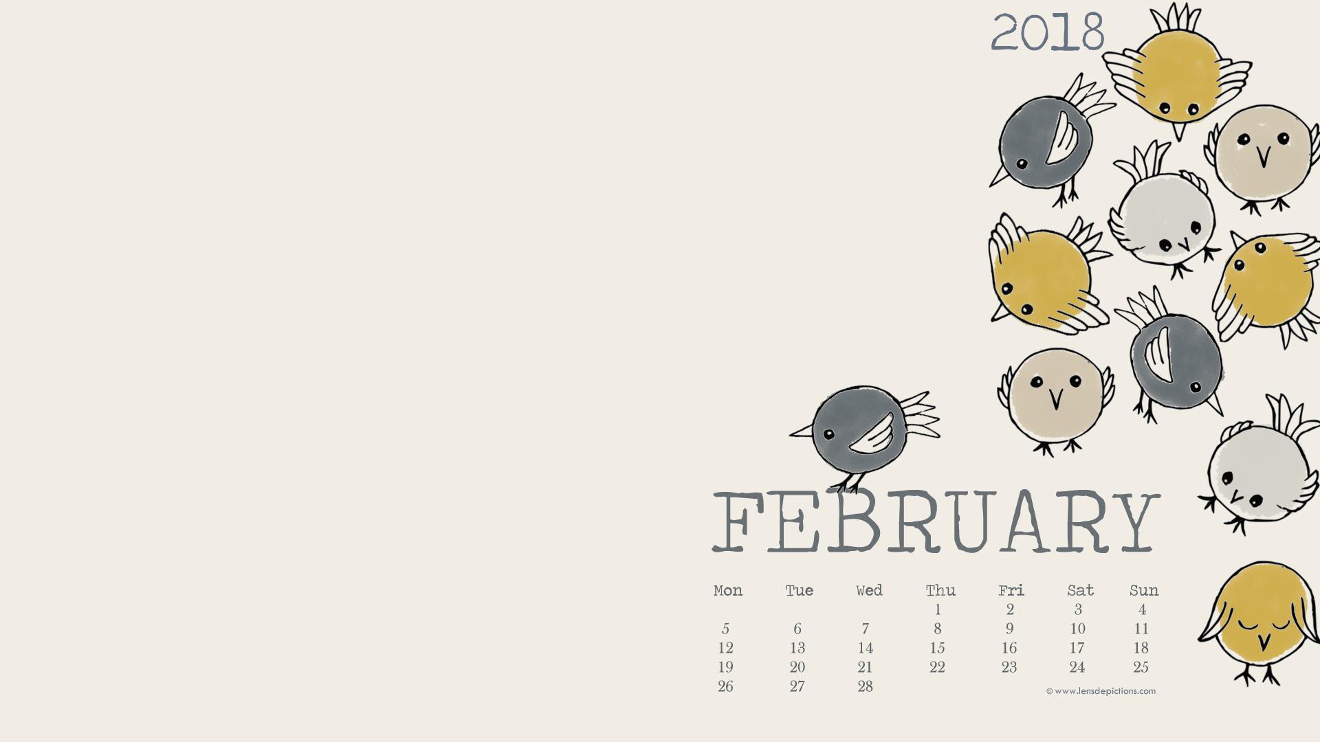 Feb 2018 Desktop Calendar Wallpaper