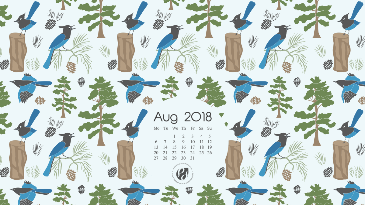 August 2018 Free Wallpapers/Calendars & Printable Planner, illustrated - Sierra Forest!