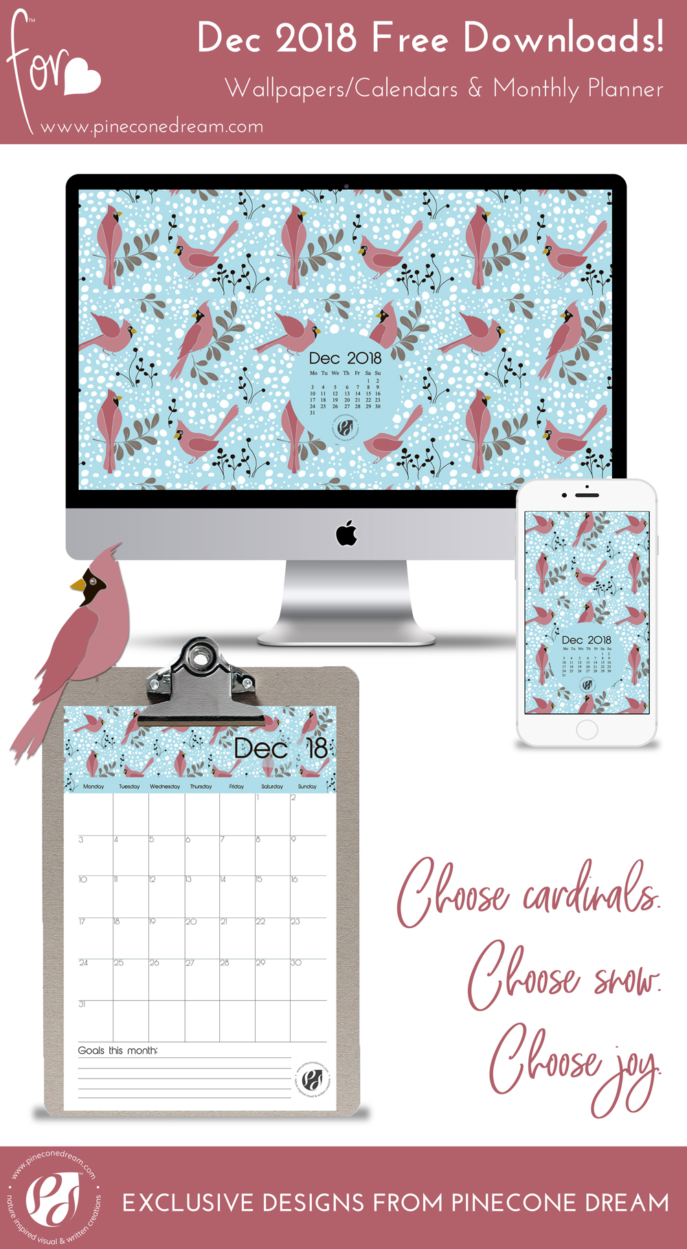 Printable planner Dec 2018, desktop calendar wallpaper, mobile background for winter