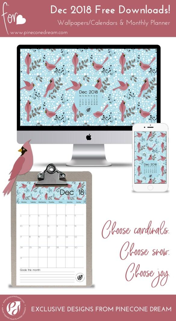 December2018_Wallpapers&Calendars_Bundle_Pineconedream