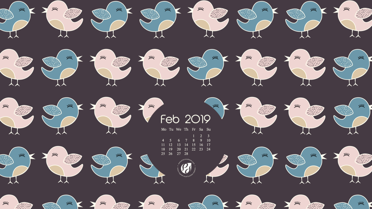 Feb 2019 free calendar wallpapers & planner - illustrated cute folk birds + Free Valentine's Day printable greeting card!