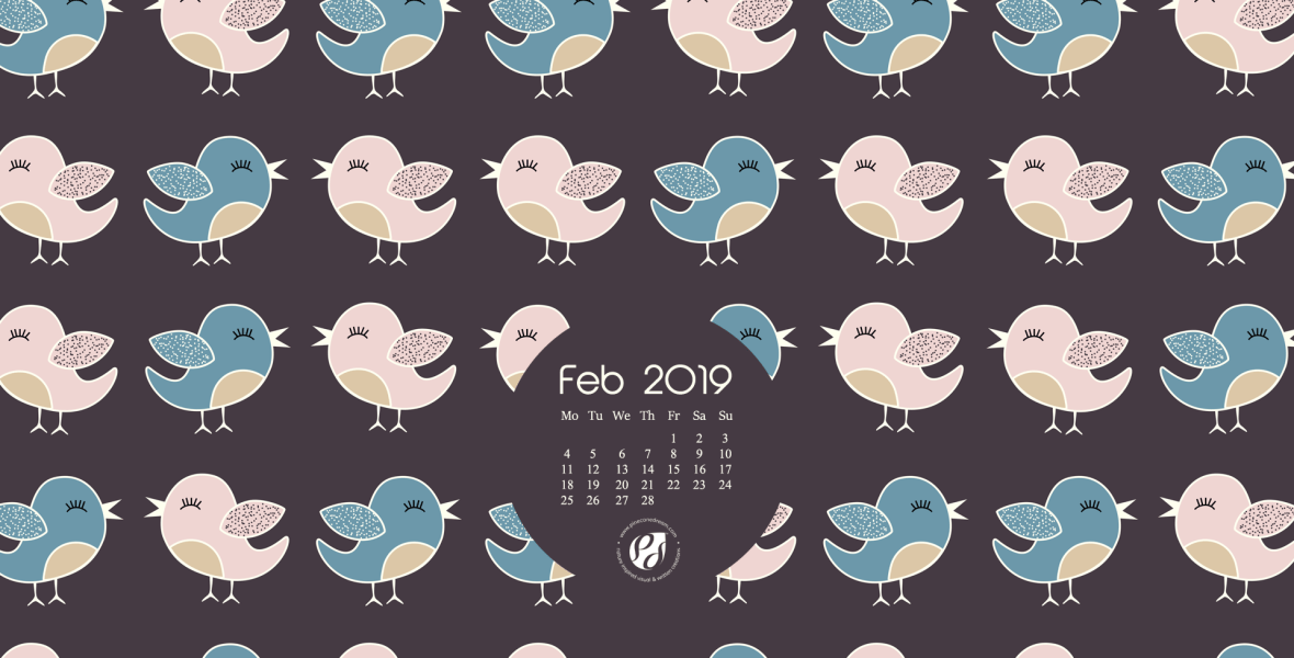 Feb 2019 Desktop Calendar Wallpaper