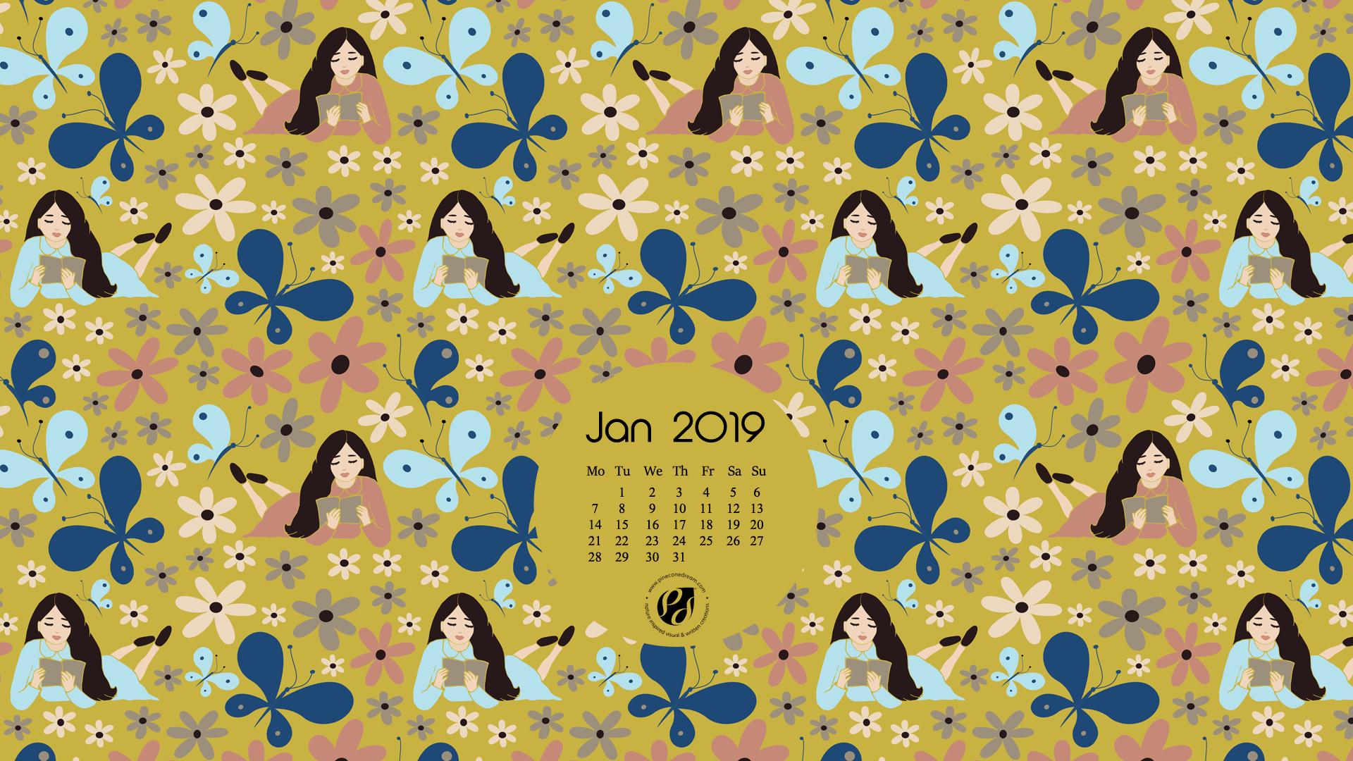 Illustrated desktop calendar background Jan 2019