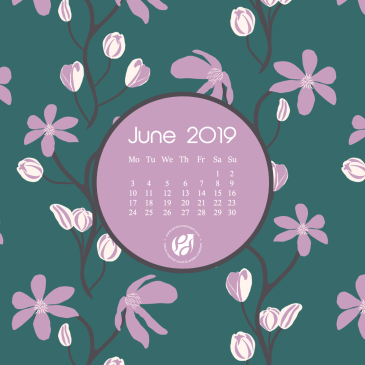 June 2019 free calendar wallpapers & printable planner, illustrated – Blooming Clematis!
