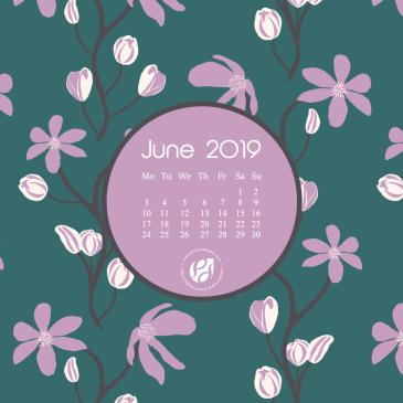 June 2019 free calendar wallpapers & printable planner, illustrated – Blooming Clematis!