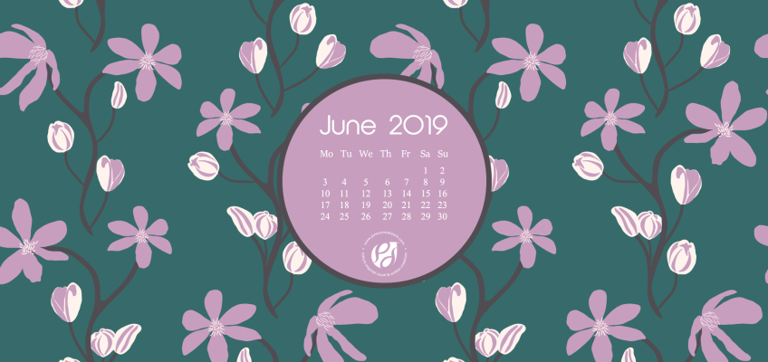 June 2019 free calendar wallpaper illustrated clematis flowers vines