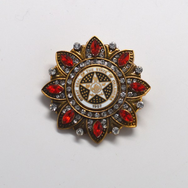 Antique Gold Flower Broach With Red Stones Pin Efx