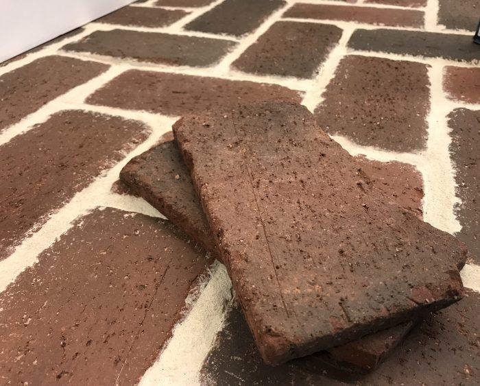 interior with a brick floor using
