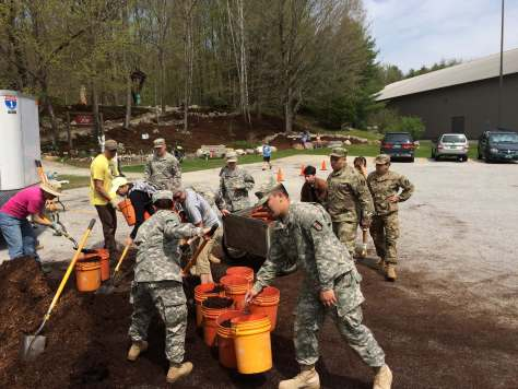 Army National Guard helping with 18 yards of mulch