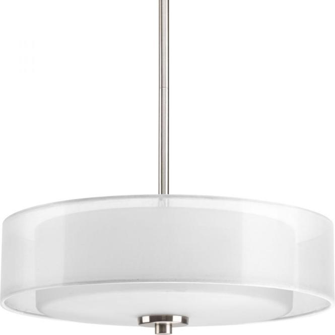 Three Light Brushed Nickel White Glass Drum Shade Semi Flush Mount