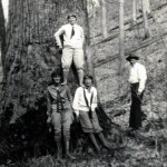 Three women at base of large poplar tree.  Emily Hill is standing on shoulder of other women.  Columbus Creech [?] is to the right.  X_100_workers_2538_mod.jpg