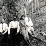 (left to right) Frank Cornett, Columbus Creech, unknown, and Emily Hill at foot of large poplar tree. X_100_workers_2539.jpg