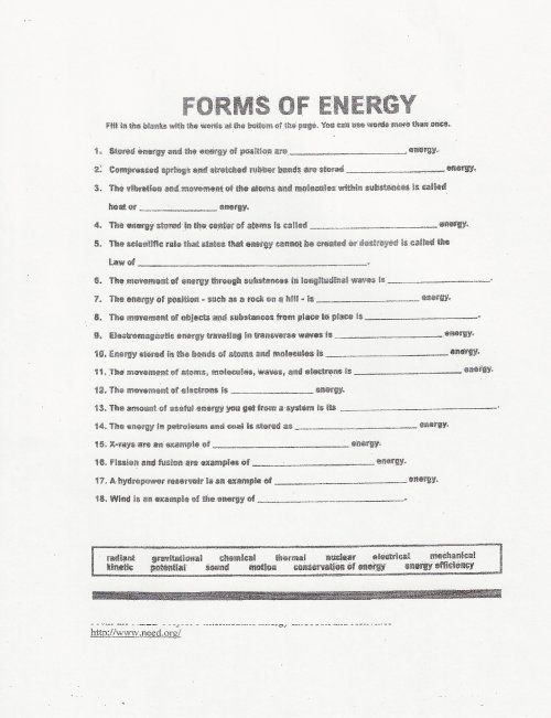 small resolution of 30 Forms Of Energy Worksheet - Worksheet Resource Plans