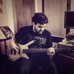 Michael Bustamante working on a new recording at Pinetop Recording Studio