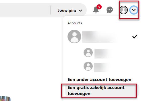 Pinterest zakelijk account toevoegen