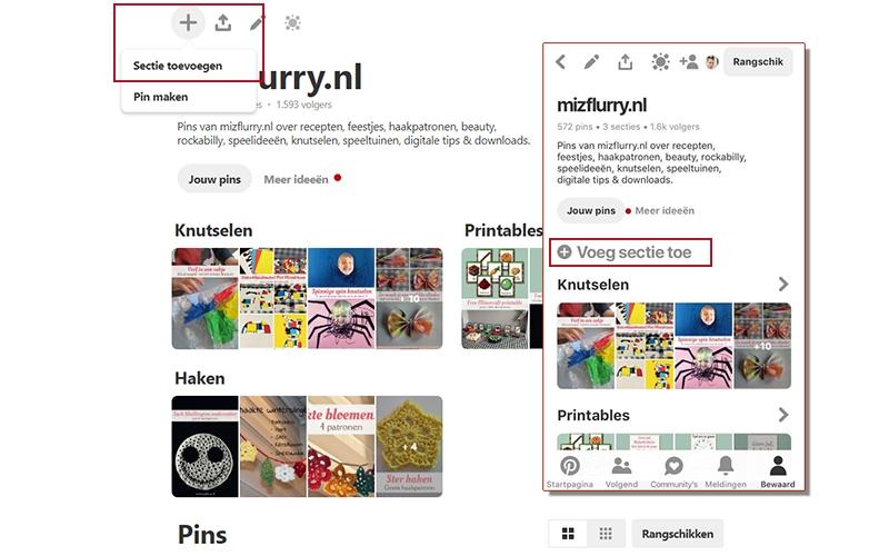 pinterest bord sectie toevoegen website app