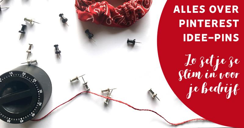 Flatlay foto met kookwekker, met tekst Alles over Pinterest idee-pins, zo zet je ze slim in voor je bedrijf.