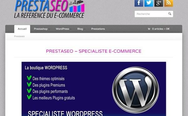 Capture d'écran du site www.presta-seo.fr, spécialiste de l'optimisation de référencement pour Prestashop.