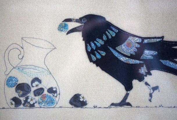 Embroidered crow