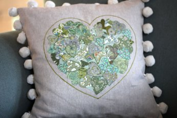 Liberty Print Heart Cushion
