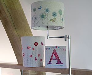 Embroidered Lampshades and wastepaper baskets