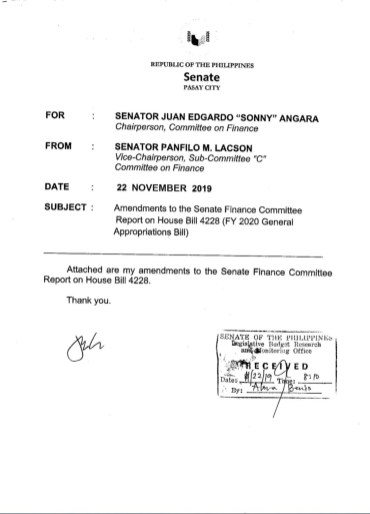 Sen. Lacson's proposed amendment to the Senate version of the 2020 budget